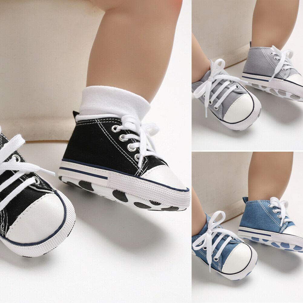 New Baby Toddler Boys Girls Crib Shoes Canvas Tennis Shoes Kids Skater Sneakers