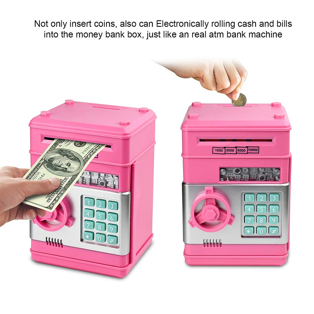 Satevin Piggy Bank, Electronic ATM Password Cash Coin Can Auto Scroll Paper Money Saving Box Toy Gift for Kids by Satevin (Image #3)