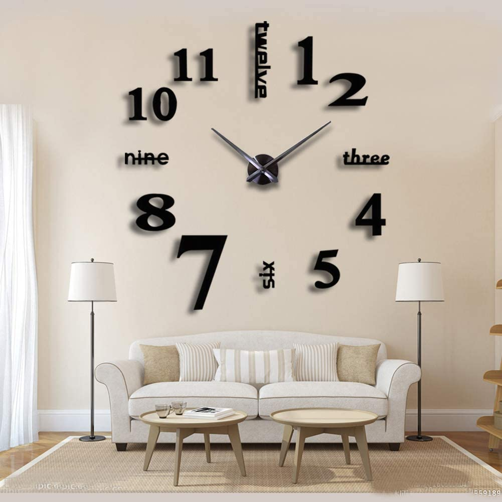 Amazon Com New 3d Diy Mirror Surface Wall Clocks Modern Design Living Room Decorative Wall Watches Black Kitchen Dining
