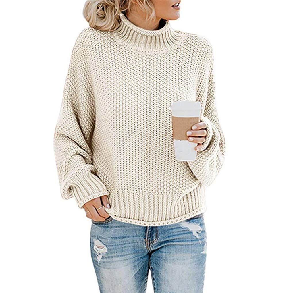 Mrsrui Women Cotton Long Sleeves Sweater Crew Neck Knit Shirts Loose Casual Tees T-Shirt Beige by Mrsrui
