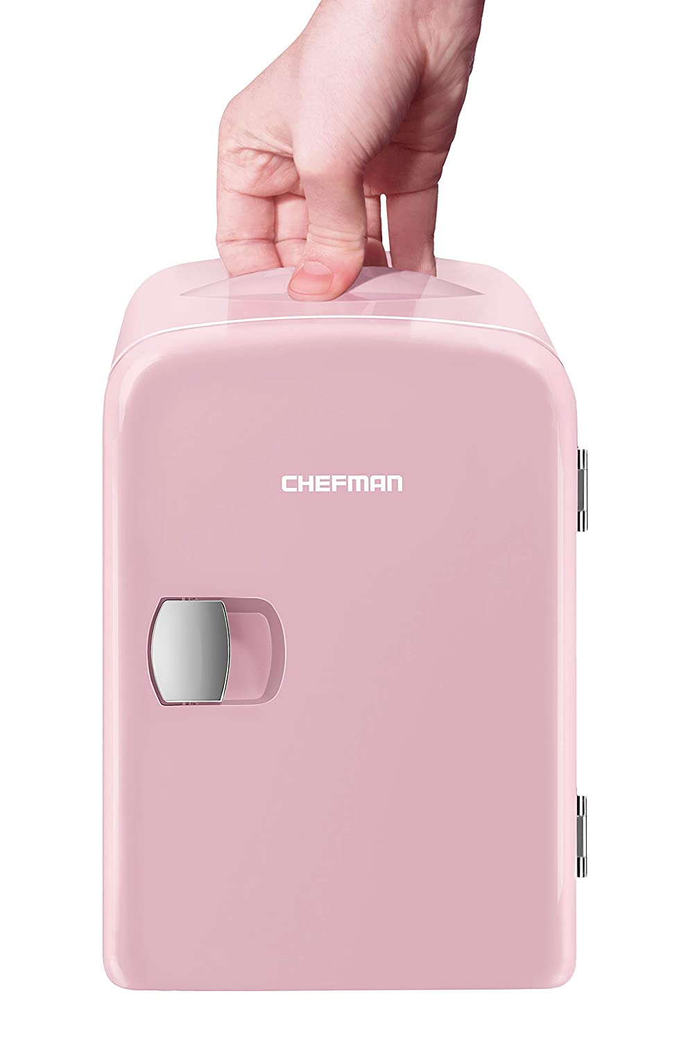 Chefman Mini Portable Compact Personal Fridge Cools Heats 4 Liter Capacity, Chills 6 12oz cans, 100 Freon-Free Eco Friendly, Includes Plugs for Home Outlet 12V Car Charger, Pink Renewed