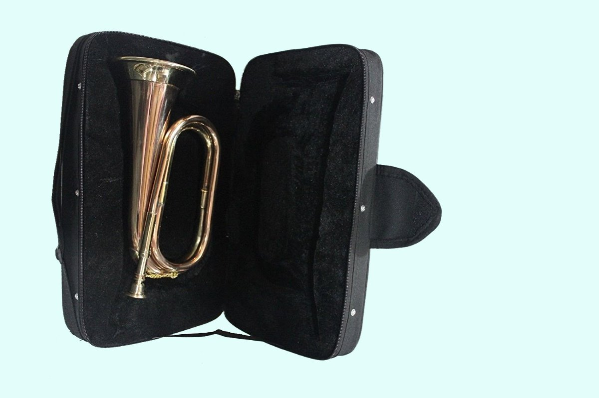 Global Art World Stylish Bugle Made Of Solid Brass & Copper With Bugle Instrument With Case MI 016 MI 16