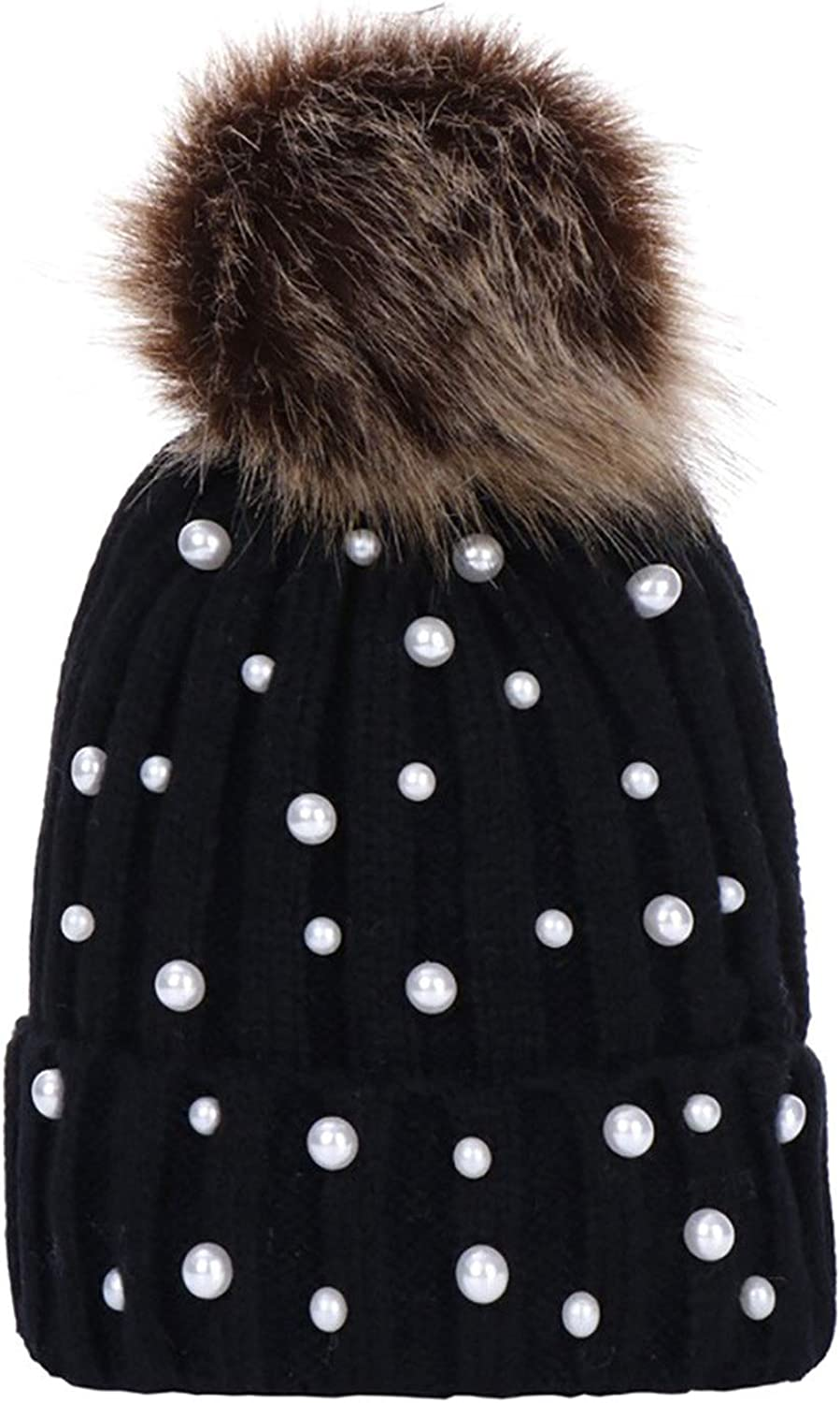Fur Pom Pom Winter Hats for Women Cap Girls hat Knitted Beanies Cap Thick Pearls Decoration Cap