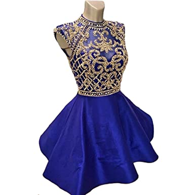 Weierxi Womens Short Homecoming Dress Beading Royal Blue 8th Grade Prom Dresses ...