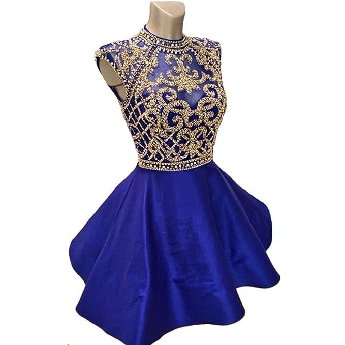 Weierxi Womens Short Homecoming Dress Beading Royal Blue 8th Grade