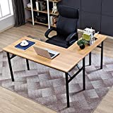 Need 55'' x 55'' L-Shaped Folding Computer Desk, One-Step Assembly, L Desk Home Office Desk Workstation Desk, Teak AC11BB