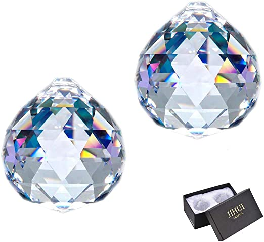 Crystal Set 7 Pieces Tips 38-63 mm Crystal 30/% PbO ~ Feng Shui Suncatcher Rainbow Crystal