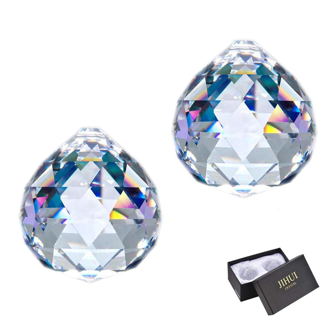 JIHUI Clear Glass Crystal Ball Prism Pendant Suncatcher 40mm Pack of 2 for Gift