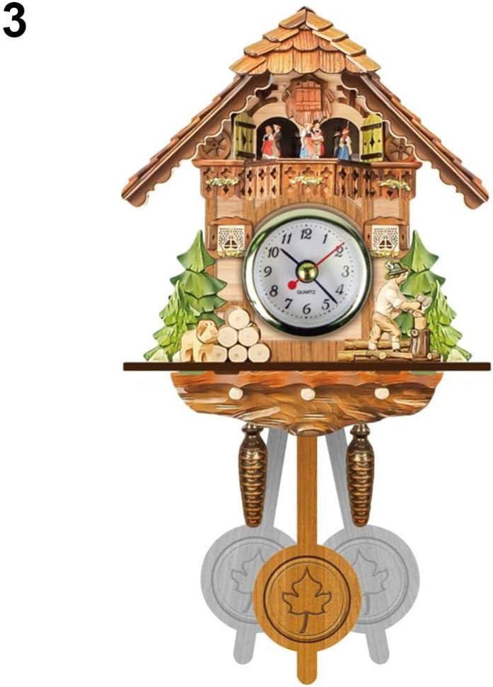NA Reloj de Pared Reloj De Pared De Cuco De Madera Antiguo Reloj De Alarma De Columpio De Campana De Pájaro Decoración De Arte para El Hogar D