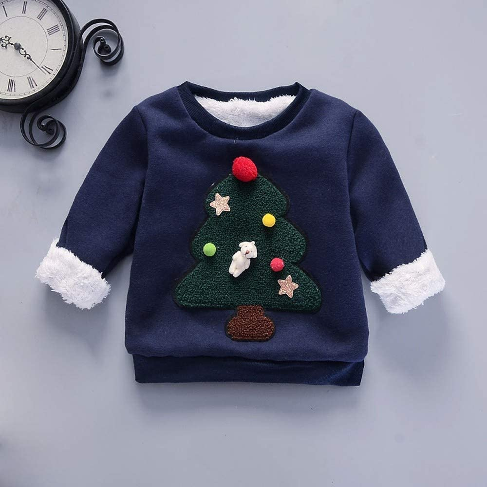 callm Toddler Kids Baby Clothes Girls Boys Cartoon Christmas Tree Print Pullover Top