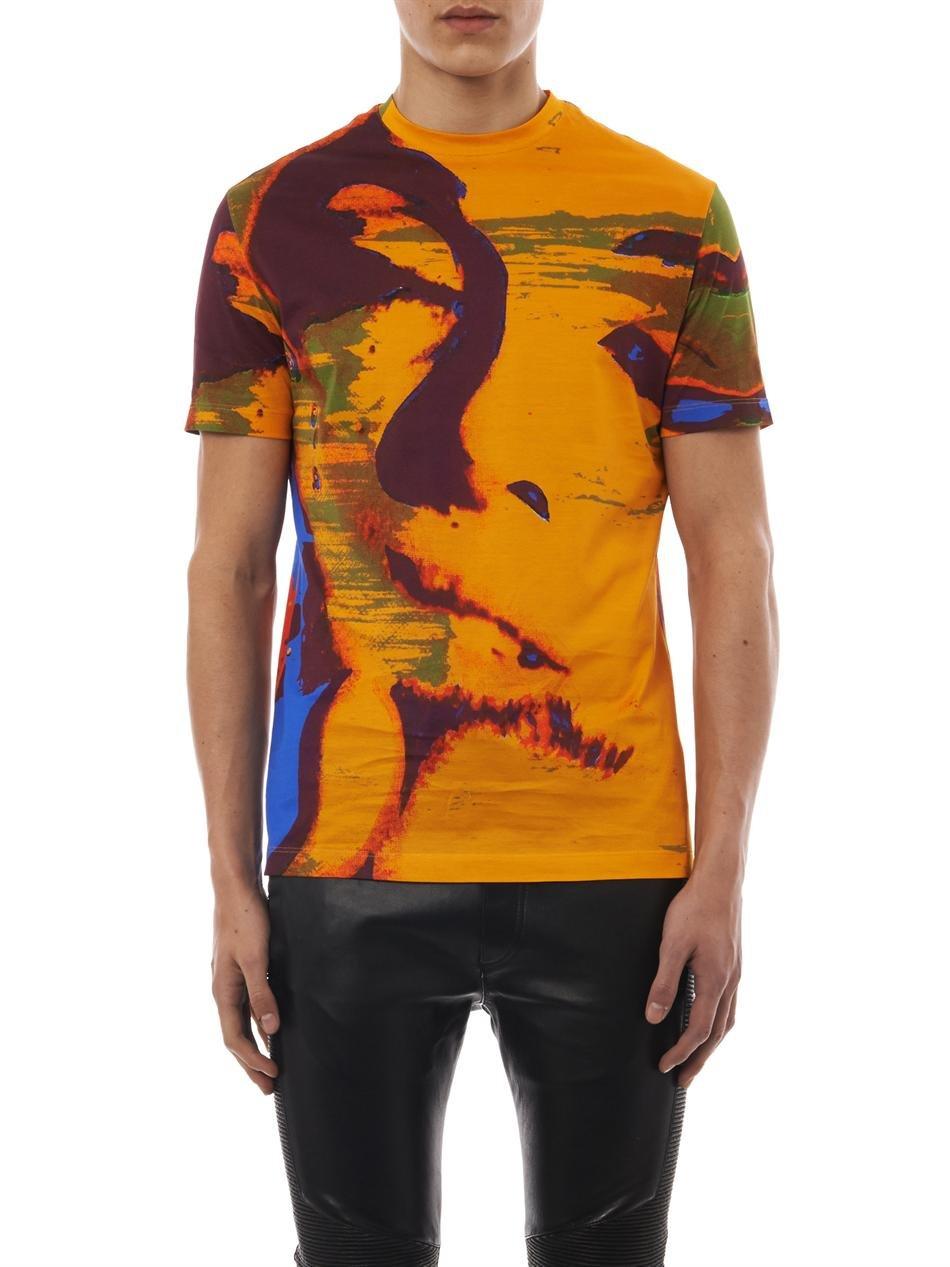 Versace Mens Marilyn Monroe Short Sleeve T-shirt, Orange (Large)
