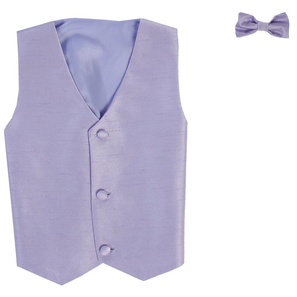 Lito Little Boys Lilac Poly Silk Vest Bowtie Special Occasion Set 2T-7