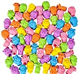 NEON ZOO ANIMAL PENCIL TOP ERASER, 144 Pieces