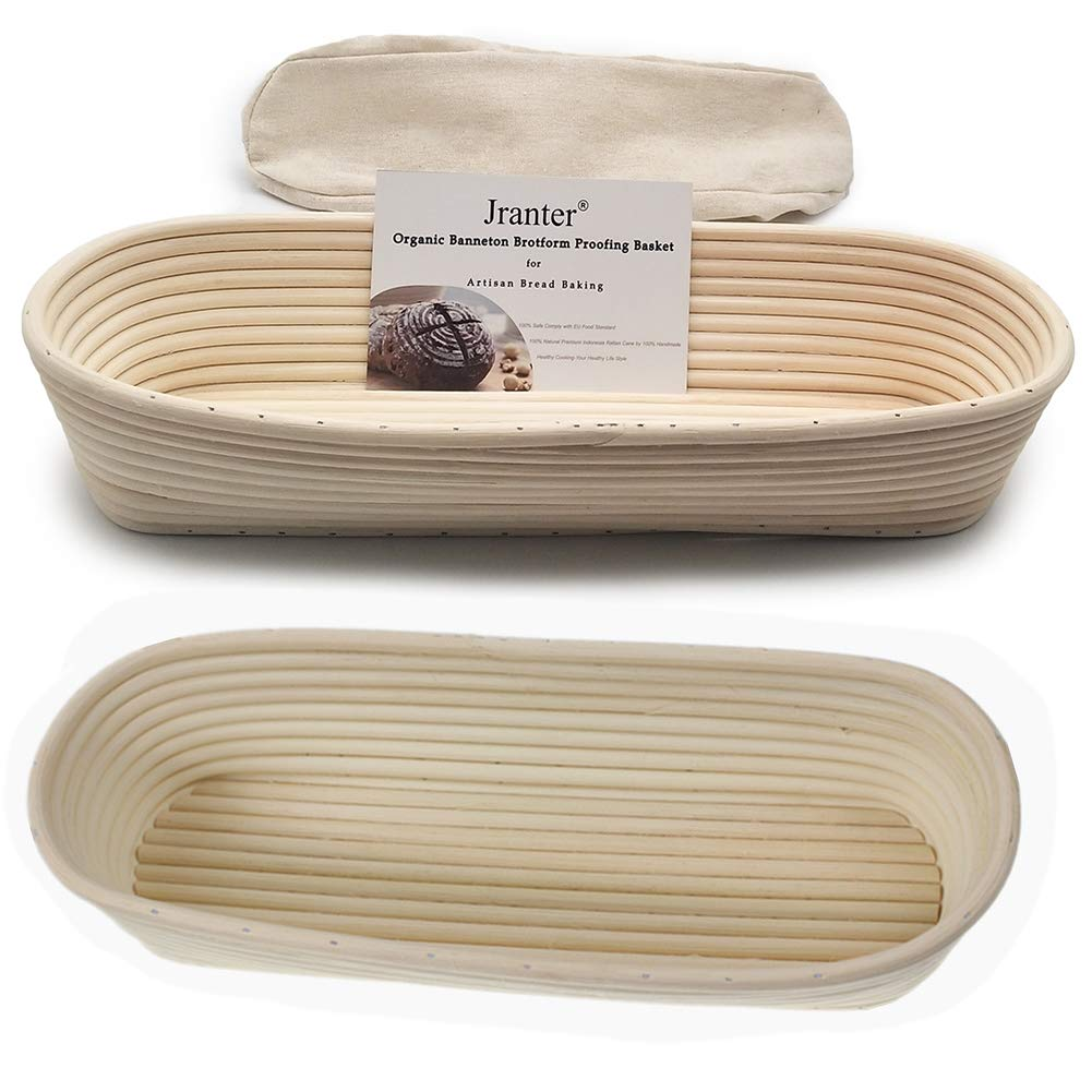 2 Pcs Oval 14 inch Banneton Brotform Bread Proofing Basket Natural Rattan Cane Handmade & Linen Liner Cloth