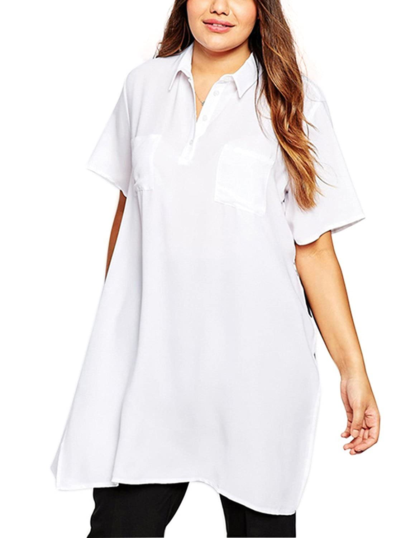 Lingswallow Womens White Casual Oversize Polo Short Sleeve Boyfriend