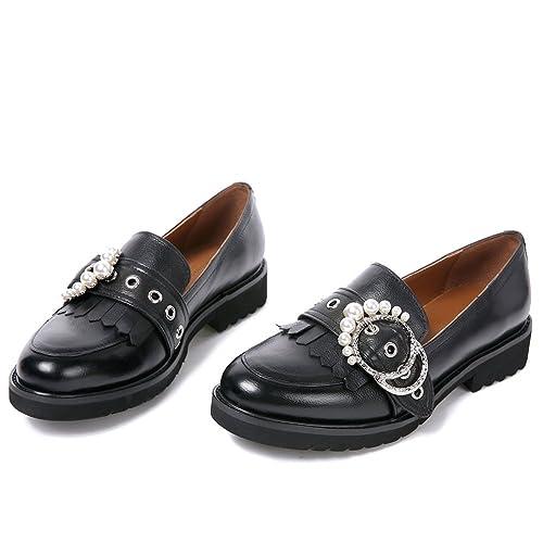 Darco & Gianni Mujer Cueros Mocasines Negro Zapatos Planos Plataforma De TacÓN Cuña: Amazon.es: Zapatos y complementos