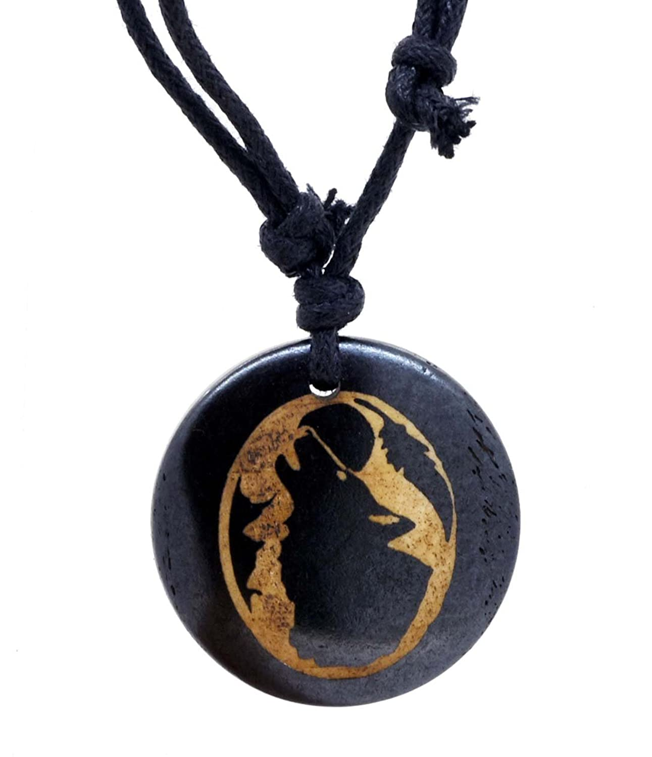 Howling Wolf Spirit Totem Amulet Surfing Synthetic Bone Pendant Necklace
