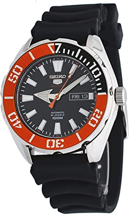 820258491 Image Unavailable. Image not available for. Color: Seiko 5 Sports SRPC59  Men's Rubber Band Orange Bezel 100M Automatic Dive Watch