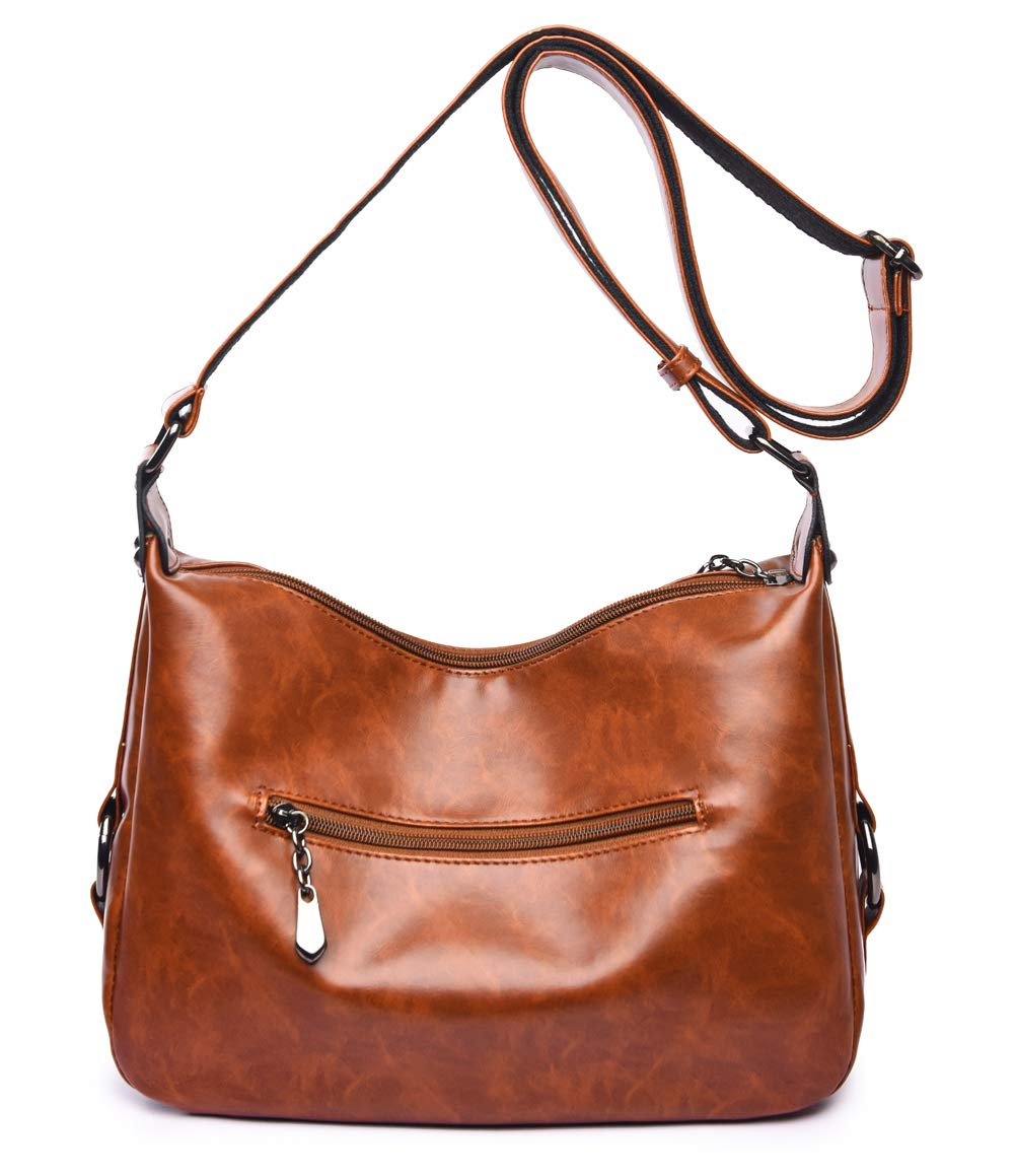 Women's Retro Sling Shoulder Bag from Covelin, Leather Crossbody Tote Handbag New Brown by Covelin (Image #2)