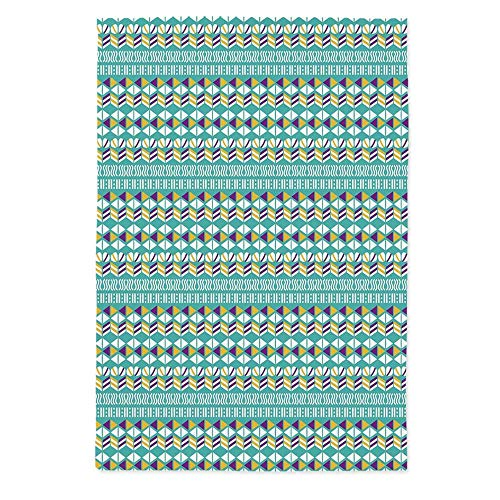 TecBillion Geometric Soft Tablecloth,Modern Ethnic Mix with Triangles Wavy Ovals Stripes Pattern for Buffet Table Parties Holiday Dinner Wedding & More,60''W X 84''L