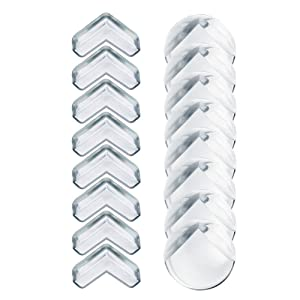 ZesGood Soft Silicone Clear Baby Safety Edge Corner Guards Protectors-16 Pack