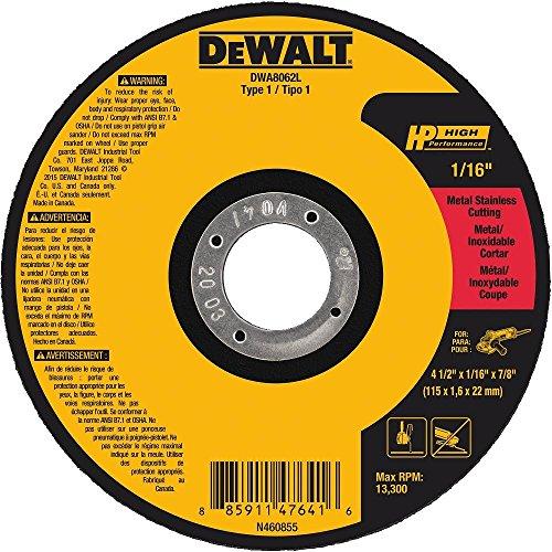 DEWALT Cut Off Wheel, Long Life, 4-1/2-Inch x 1/16-Inch x 7/8-Inch (DWA8062L)