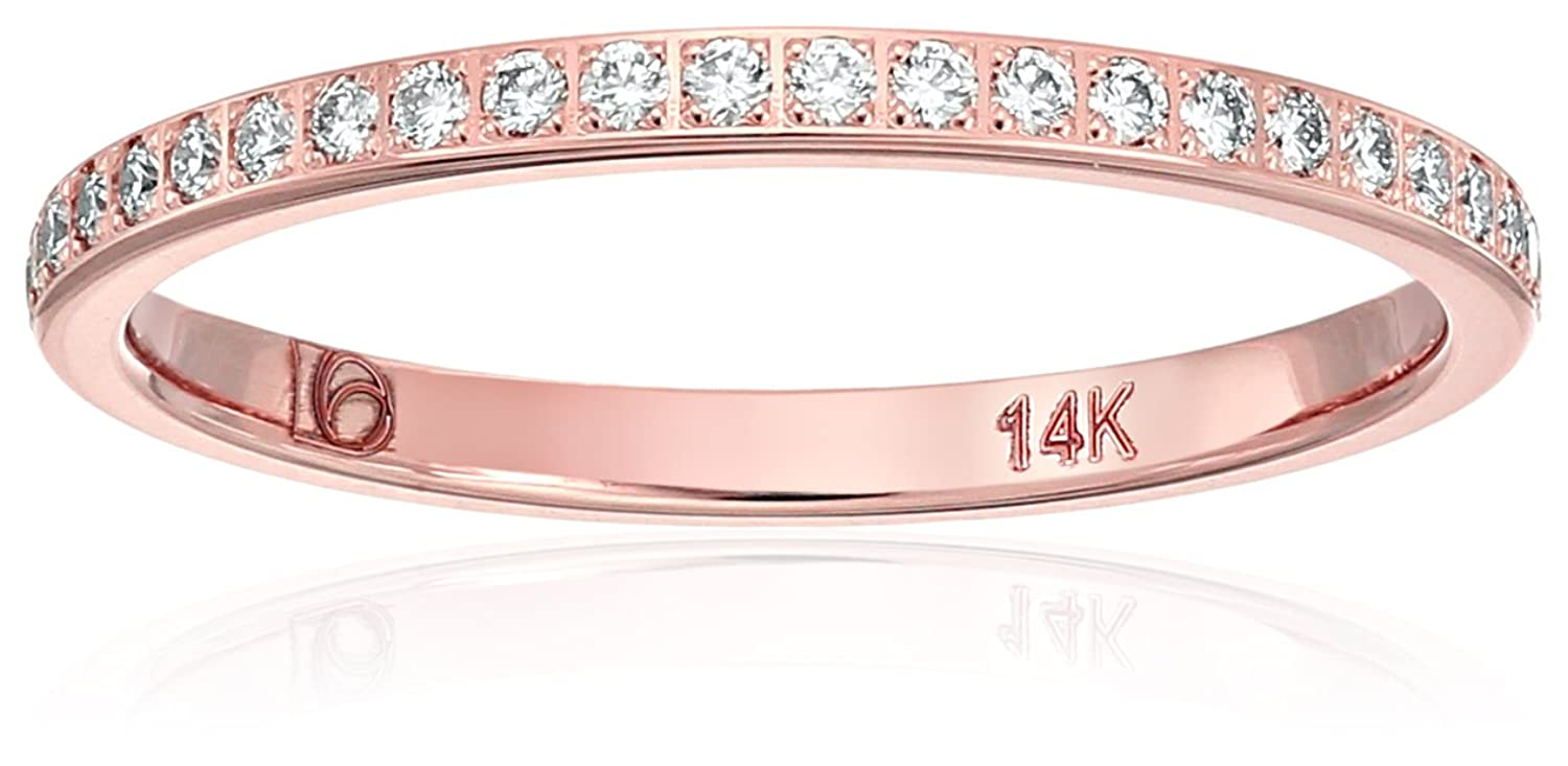Amazon.com: 14k Gold 2mm Pave Set Wedding Band Stackable Ring (1 ...