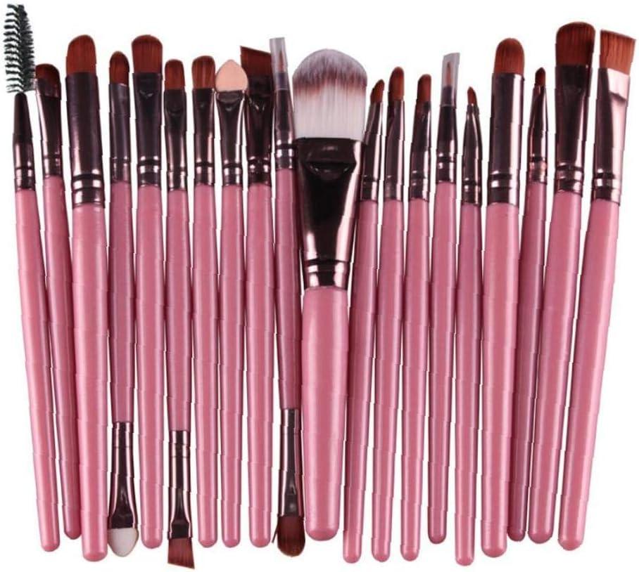 LAANCOO escobillas 20 Maquillaje del Sistema de Herramienta de Pincel licuadora Cepillo de Sombra de Ojos Fundación Brillo de Labios Cepillo Cuidado de la Belleza Profesional (Rosa)