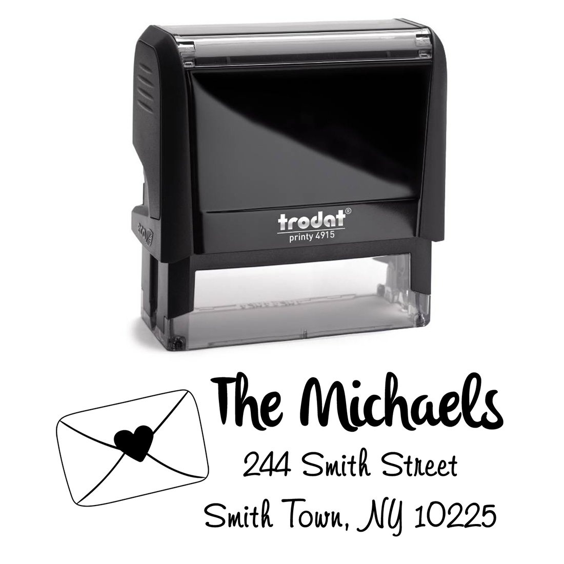 Black Ink, Envelope Sealed with Heart Personalized Custom Self Inking Return Mail Address Stamp – Elegant Gift for; Real Estate Clients, Family, Housewarming, Newlyweds or for Wedding Invitations