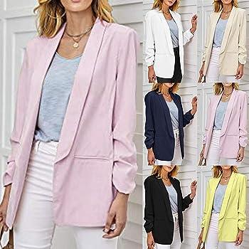 FRAUIT Trajes Mujer Blazer Color Sólido Frente Abierto Cardigan de ...