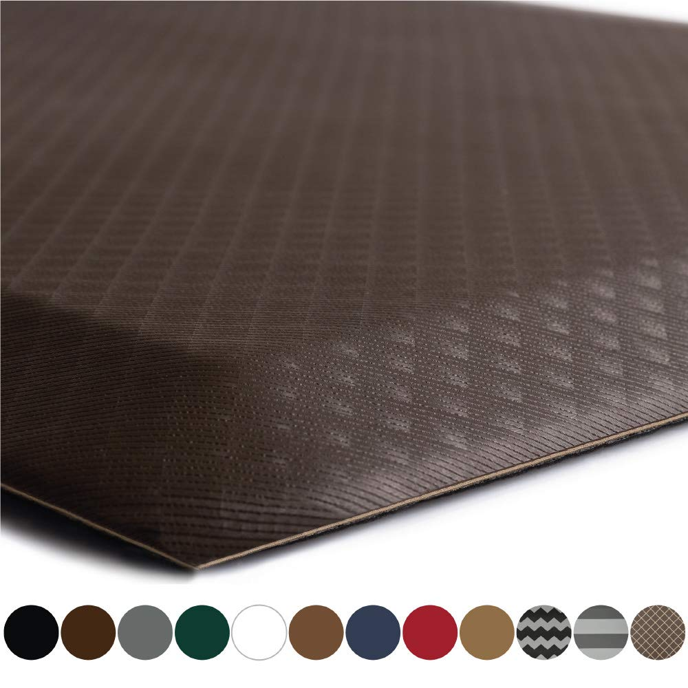 "Kangaroo Original 3/4"" Standing Mat Kitchen Rug, Anti Fatigue Comfort Flooring, Phthalate Free, Commercial Grade Pads, Waterproof, Ergonomic Floor Pad, Rugs for Office Stand Up Desk, 70x24 (Brown)"