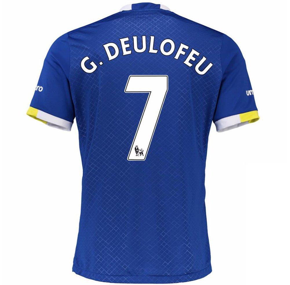 2016 2017 Everton FC Camiseta de 7 Gerard Deulofeu casa fútbol Jersey de flores en azul, European Soccer League, Hogar, hombre, color azul, tamaño medium: ...