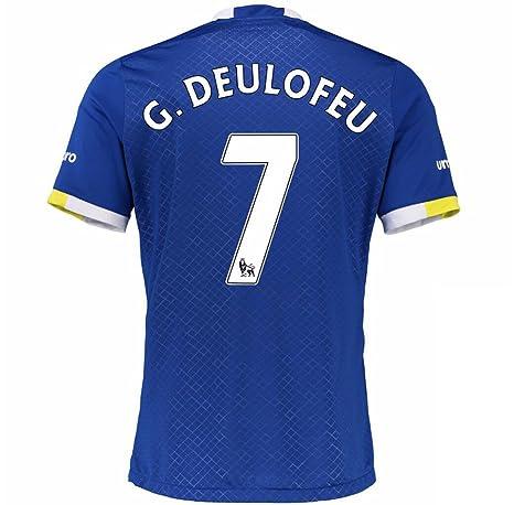 2016 2017 Everton FC Camiseta de 7 Gerard Deulofeu casa fútbol Jersey de flores en azul