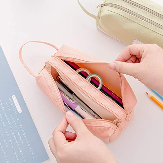 593927c0ef2f Gaddrt Creative Pencil Case Students Kids Brief Style Pure Color Large  Capacity Pen Pencil Bag Stationery (Pink)