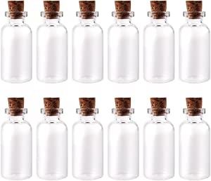 LEFV 5ml Small Bottles Transparent Mini Glass Jars with Cork Stoppers Top - Message Weddings Wish Jewelry Pendant Charms Kit Party Favors - Pack of 12