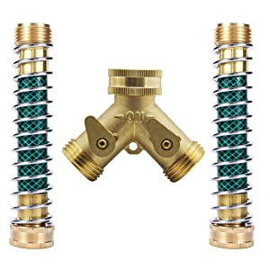 Hanobo Heavy Duty Brass 2 Way Garden Hose Connector with 2Pcs Garden Hose Coiled Spring Protector