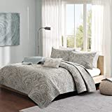 Madison Park Pure Ronan King/Cal King Size Quilt Bedding Set - Teal, Paisley – 4 Piece Bedding Quilt Coverlets – 100% Cotton Bed Quilts Quilted Coverlet