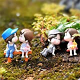 Danmu 2 Pairs a Set Mini PVC Lovers and 2 Benches Plant Pots Bonsai Craft Fairy Garden DIY Decor Set Review