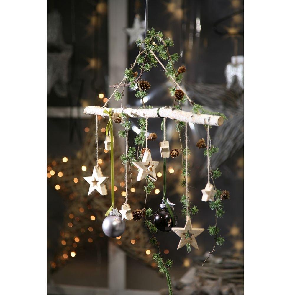 Weihnachtsdeko Aus Birke.Annastore Birken Zweig Mit 7 Hängenden Sternen Weihnachtsdeko Dekozweig