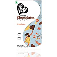 &Me Sugar-Free Vegan Dark Chocolates (70% Cocoa) - for Period Cravings, Mood Swings, Energy - with Ashwagandha (Cranberry Flavour, 45gm, 6 Bites Each)