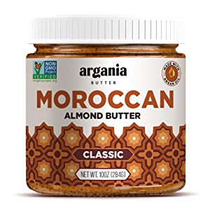 Argania Butter Classic Almond Butter With Superfood Organic Edible Argan Oil - Vegan, No Gluten , Kosher, Non GMO, No Palm Oil, No Dairy, No Peanuts, Keto Friendly, Low Carb. 10 Ounces