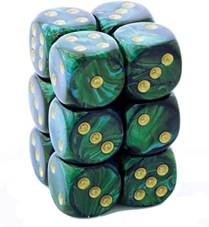 Scarab 16mm d6 Jade/gold Dice Block 12 pipped dice