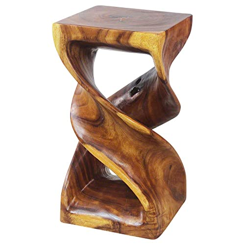 Haussmann Eco End Table Stool Double Twist 12 in SQ x 23 in High Oak Oil