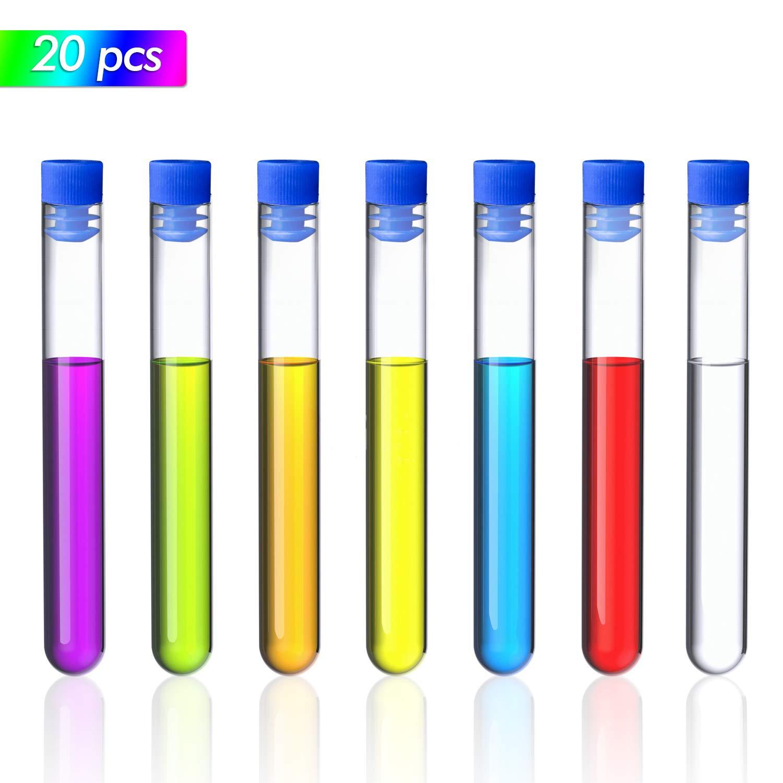 Hentek 20pcs 7ml Tubos de Ensayo Plásticos Transparent con Tapas, Probeta de Laboratorio de Muestra para Almacenamiento Líquido o Cosas Pequeñas