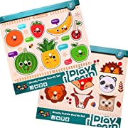 iPlay, iLearn Kids Wooden Peg Puzzles Play Set, Fruit Animals Shapes Knob Board, Learning Jigsaw, Preschool Gift, Educational, Development Toys 1, 2, 3, 4 Year Olds Toddlers, Baby, Boys, Girls