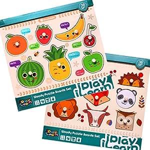 Amazon.com: iPlay, iLearn Kids Wooden Peg Puzzles Play Set