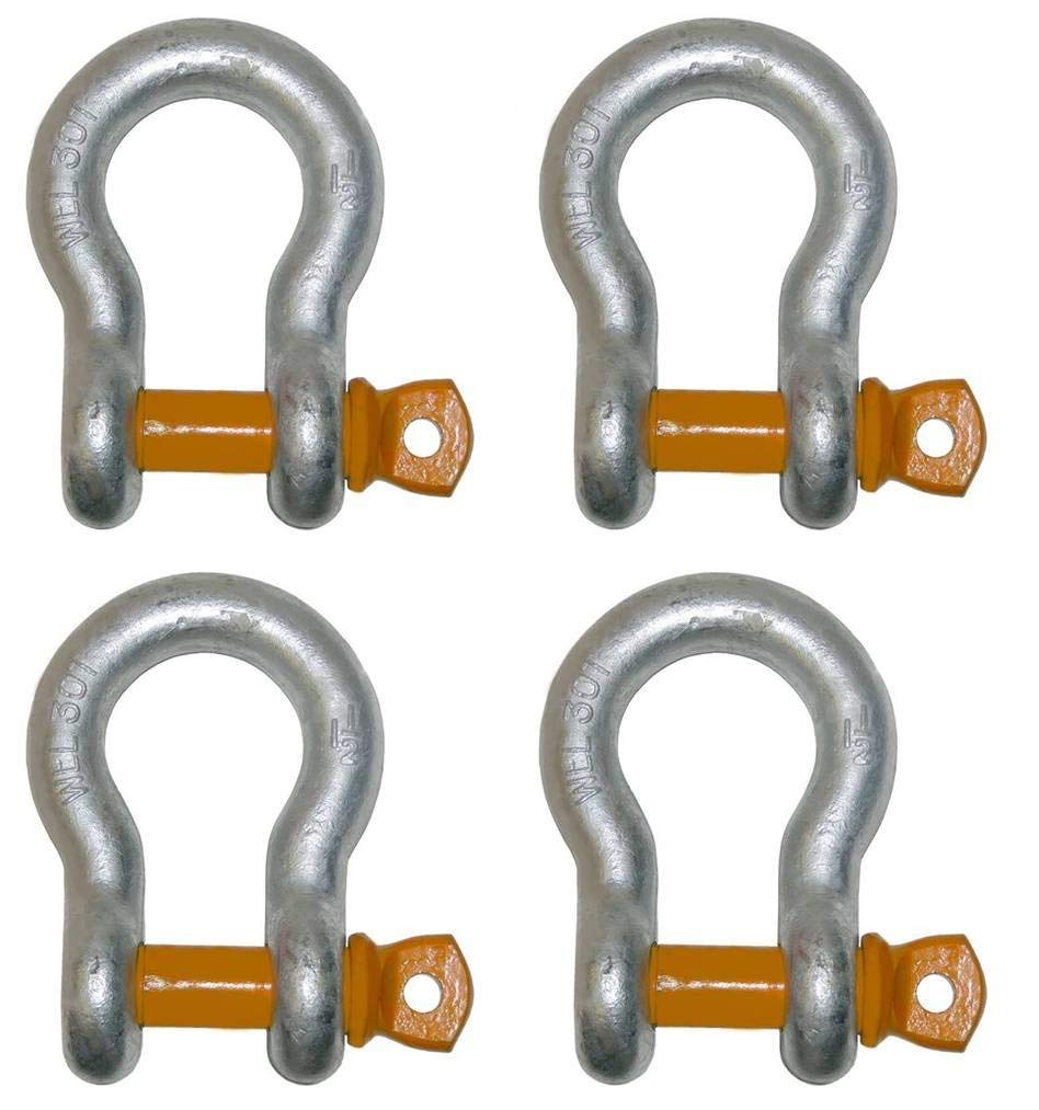 BA Products Set of 4, 11-AS34-x4, Strong! 3/4'' 7 Ton WLL Alloy Screw Pin Anchor Shackle, High Capacity for Lifting, Rigging, Chains, Straps by BA Products
