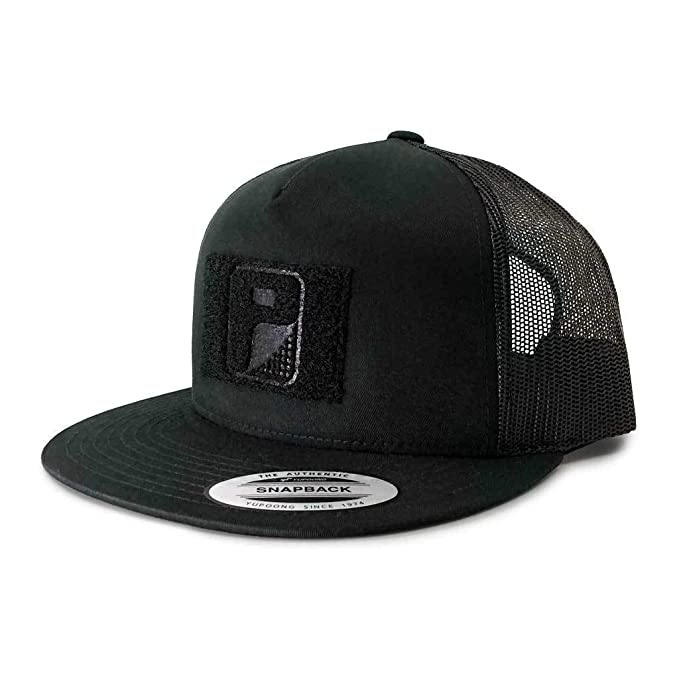 80d2708a8 Pull Patch Tactical Hat Authentic Snapback, Black Trucker Flat Bill  Baseball Cap, Hook & Loop Fastener With FREE US Flag Patch