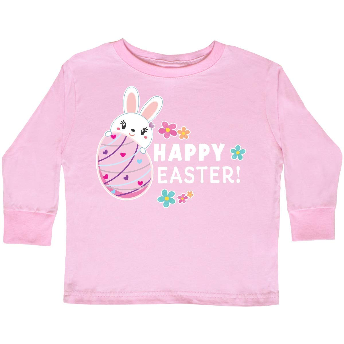 inktastic Happy Easter with Bunny Behind Egg Toddler Long Sleeve T-Shirt
