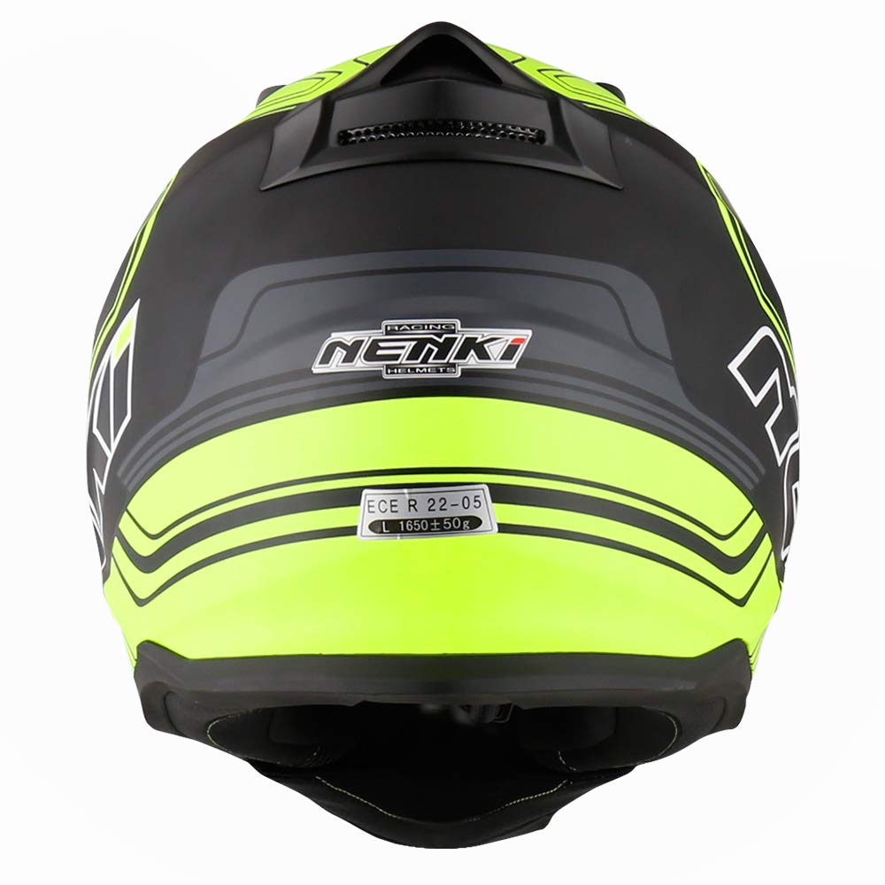 NENKI Dual Sport Motocross ATV Quad Dirtbike Motorcycle Helmets NK-313 ECE R 22.09 Approved With Dual Visors for Adult Large, White